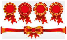 Red badges with ribbons Stock Image