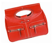Red bag. Isolated on white background with clipping path stock photo