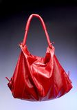 Red bag. On the blue background Royalty Free Stock Photos