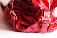 Red bag. With metal fastener stock photography