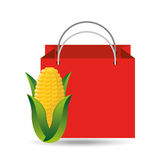 Red bag buying corn cob vegetable Royalty Free Stock Photography