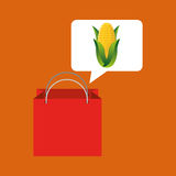 Red bag buying corn cob vegetable Stock Photos