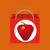 Red bag buying harvest pepper vegetable Royalty Free Stock Photography