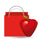 Red bag buying harvest pepper vegetable Stock Image