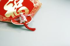 Red bag, chopsticks and china new yeah wish Royalty Free Stock Image