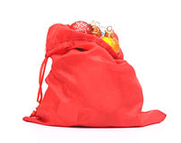 Red bag with Christmas toys Royalty Free Stock Photography