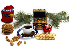 Red bag, coffee, fir-tree branch, casket and forest nutlets Stock Photos