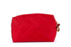 Red bag for cosmetics on a white background royalty free stock images
