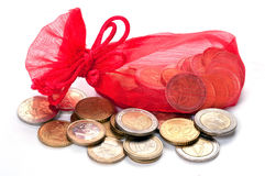 Red bag with euro coins Stock Photography
