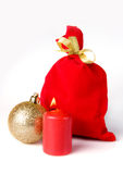 Red bag for gift with candle Stock Photo