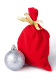 Red bag for gift with gold ribbon Stock Photography