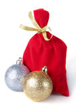 Red bag for gift with gold ribbon Royalty Free Stock Photography