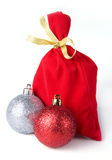 Red bag for gift with gold ribbon Royalty Free Stock Image