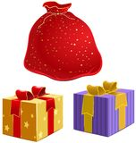 Red bag with gifts and the box with ribbon Stock Photography