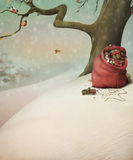 Red bag with gifts for Christmas in the winter for stock illustration