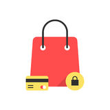 Red bag icon like protected shopping Stock Images