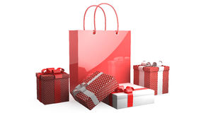 Red bag with presents Royalty Free Stock Image