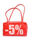 Red bag reduced price Royalty Free Stock Photos