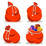 Red bag Santa Claus set. Large sack holiday for gifts. Big bagful for new year and Christmas. Set of red sacks of Santa Claus. A great holiday for gifts. A great vector illustration