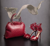 Red bag and shoes Royalty Free Stock Photo