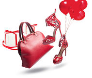 Red bag and shoes Stock Photo