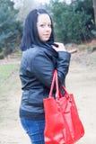 Red bag woman Stock Photos
