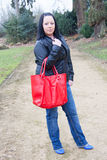 Red bag woman Royalty Free Stock Photography