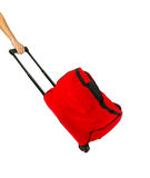 Red baggage on white isolate with clipping path. Royalty Free Stock Photography