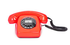 Red bakelite dial phone Stock Photos