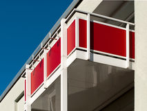 Red balcony on house Royalty Free Stock Photography