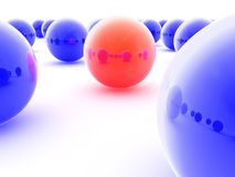 Red ball. 3d illustration of a red ball between others blue balls Royalty Free Stock Photos