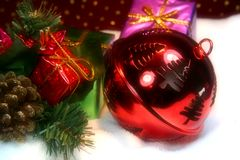 Red ball. Xmas decoration stock images