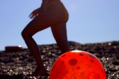 Red ball. And girl Stock Image