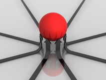 Red ball on arrows. 3d generated illustration of success concept artwork Stock Photo