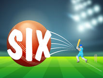 Red ball with batsman for Cricket. Zoom view of a ball after playing shot on stadium lights background stock illustration