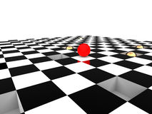 Red ball on checkerboard Royalty Free Stock Images