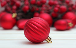Red ball with christmas background Stock Images