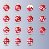 Red Ball Christmas Decoration with Glossy / glowing effect stock illustration