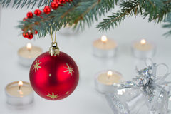 Red ball and christmas lights Royalty Free Stock Photo