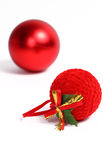 Red ball Christmas ornaments. Two red balls, Christmas ornaments, isolated on white background Stock Image