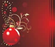 Red ball with Christmas tinsel. Holiday card Royalty Free Stock Photos