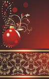Red ball with Christmas tinsel. Wrapping Stock Image