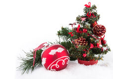 Red ball and christmas tree on white Royalty Free Stock Photos