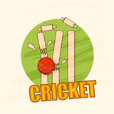 Red ball with cracked wicket stumps for Cricket. Royalty Free Stock Photo