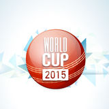 Red ball for Cricket World Cup 2015. Glossy red ball with text World Cup 2015 on sky blue background royalty free illustration