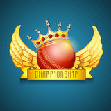 Red ball with crown and wings for Cricket Championship. Red ball in decorated crown with golden wings for Cricket Championship on stylish blue background Stock Photos