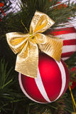 Red Ball Decorates On The Branch Of Christmas Tree Royalty Free Stock Photography