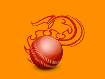 Red ball in flame for Cricket. Cricket sports concept with shiny red ball in flame on yellow and orange background Stock Image
