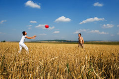 Red ball in game. Royalty Free Stock Images
