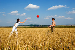 Red ball in game. Royalty Free Stock Photos